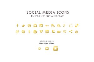 Gold Foil Social Icons