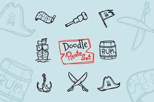 8 Doodle Icons. Pirate Set
