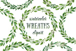 Botanical watercolor wreaths set