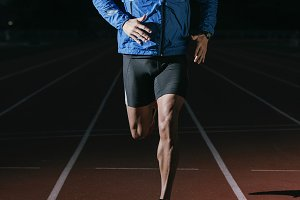 Man Track Athlete Running On Track