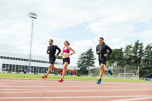 Young athletics people group running