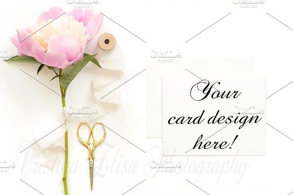 Pink Peony white card mockup