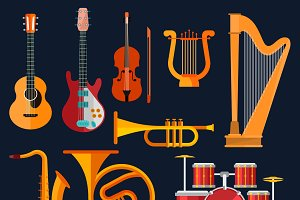Musical instruments flat icons