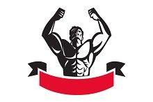 Body Builder Flexing Muscles Banner