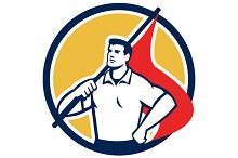 Union Worker Holding Flag Circle