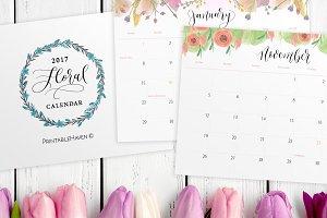 2017 Floral Desktop Calendar