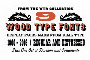Wood Type Font Bundle