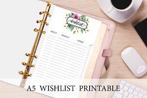 A5 Planner Insert - Floral Wish List