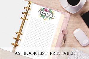 A5 Planner Insert - Floral Book List