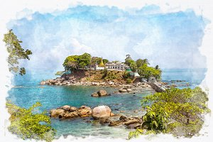 watercolor Dawei temple in blue sea.