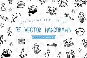 75 Handdrawn Sea Things Doodle Pack