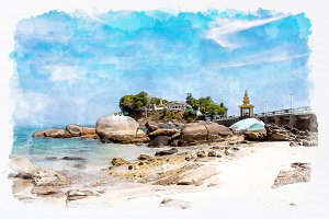 watercolor temple in Dawei.