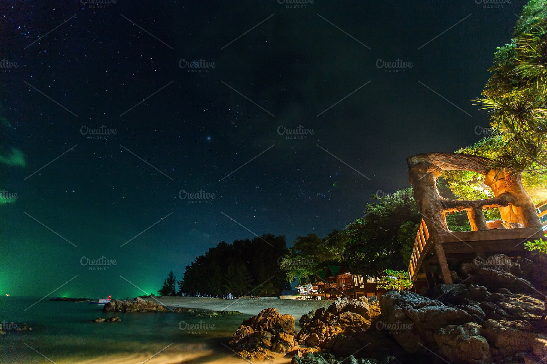 Tropical Beach And Night Star