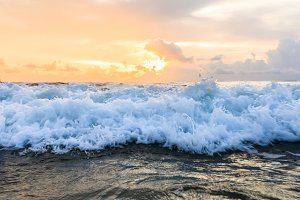 Sea wave close up.