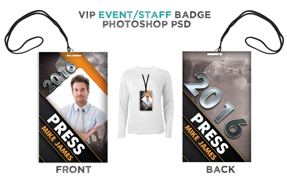 Modern Event VIP Badge Card Templates Creative Market - Event badge template