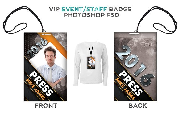 Modern event vip badge card templates creative market for Press pass request template