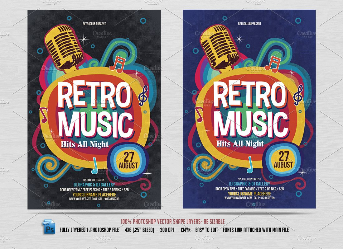 retro music flyer flyer templates creative market