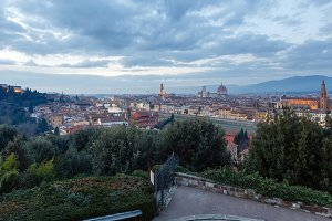 Evening Florence top view (Italy).