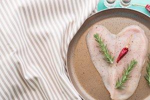 Heart shaped chicken breast