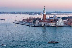 Venice city (Italy) sunset view.