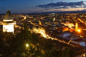 Graz city night view (Austria).