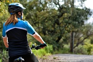 woman riding mountain bike