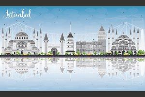 Istanbul Skyline with Gray Landmarks