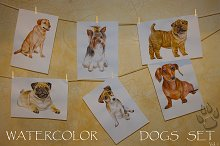 Watercolor Animals Set - DOGS Vol. 1