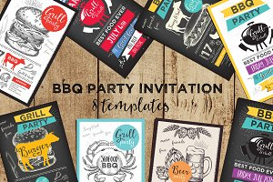 BBQ Party Invitation, 8 templates