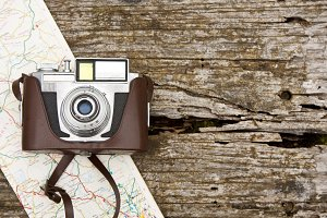 camera and map, travel