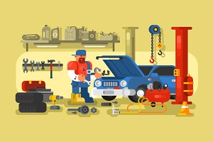 Mechanic in car service station