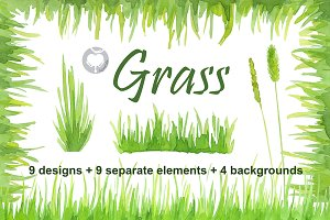 Watercolor handpainted clipart Grass