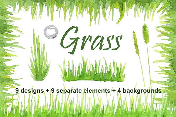 Watercolor handpainted clipart Gras…