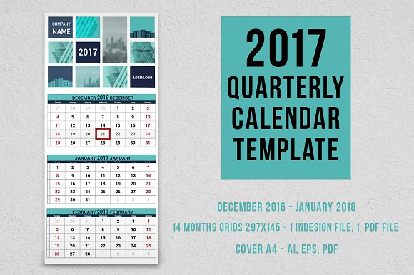 2017 Quarterly Calendar Template Stationery Templates Creative Market