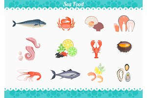 Seafood Set Design Flat Fish