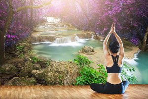 yoga outdoors at water fall