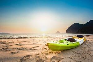 kayaks on the tropical beach