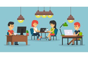 People Work in Office Design Flat