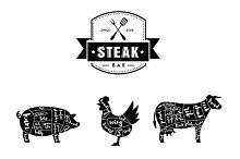Steak Bar Vector Set