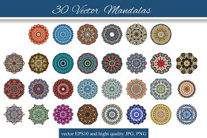 30 Vector Mandalas in color