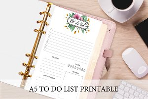 A5 Planner Insert Floral To Do List