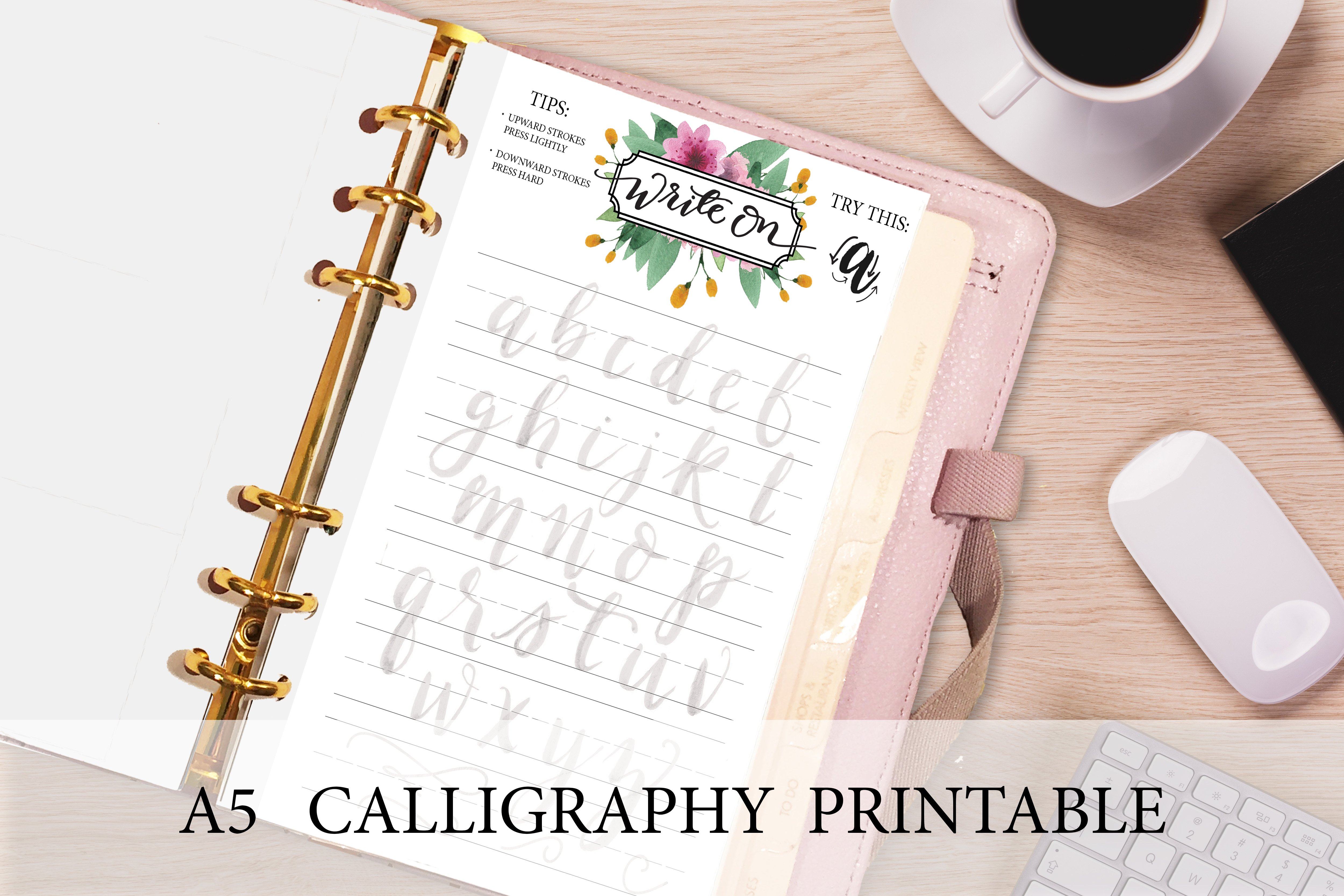 a5 planner insert calligraphy page stationery templates