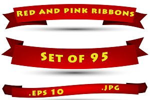 Set of red and pink ribbons
