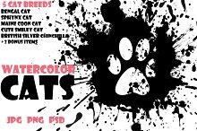 Watercolor Animals Set - CATS Vol. 1