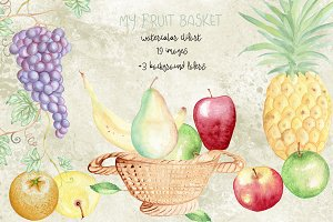 Watercolor fruits elements. Grape