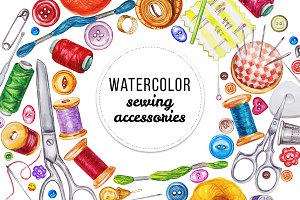 Watercolor sewing acsessories