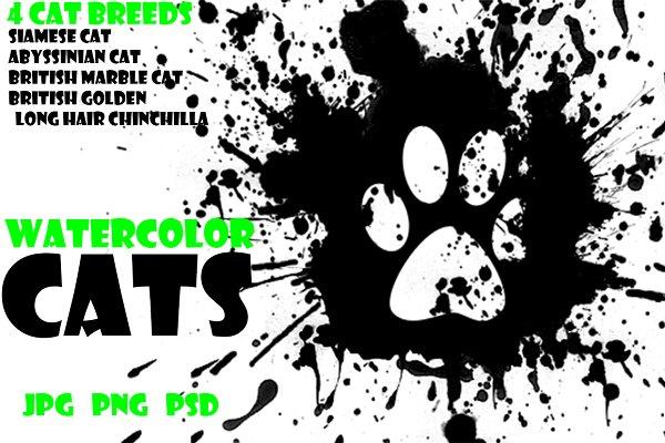 Watercolor Animals Set - CATS Vol…