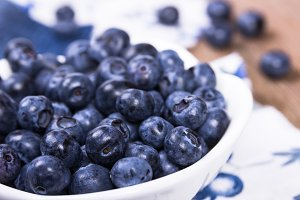 Blueberries in white ceramic bowl