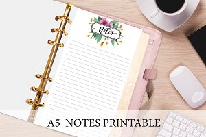 A5 Planner Insert - Floral Notes