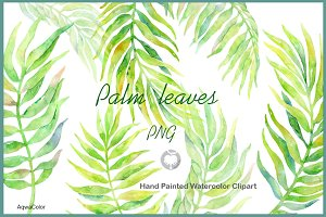 Watercolour clipart Palm Leaves
